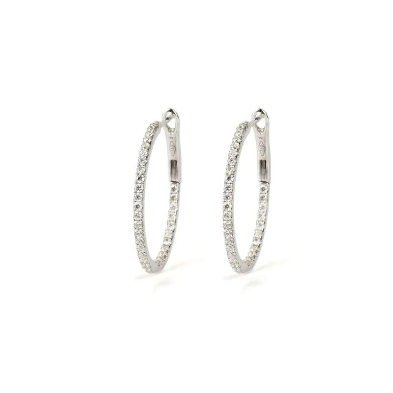 18k White Gold Diamond Hoop Earrings 0.84ct Total